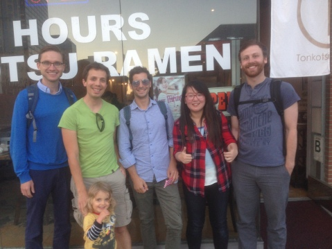 Left-to-right: Raleigh Martin, Jasper Kok with scientist-in-training Zia, Francesco Comola, Yue Huang, Francis Turney.